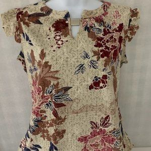 Perseption Size S Cream Floral Blouse